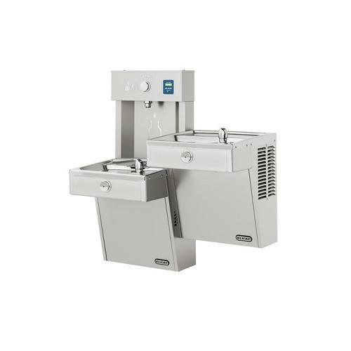 Elkay EZH2O Vandal-Resistant Bottle Filling Station, & Bi-Level Reverse Cooler, Non-Filtered Non-Refrigerated Stainless