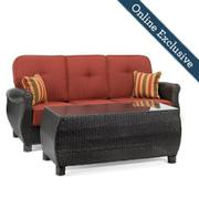 Breckenridge Outdoor Sofa with Pillows and Coffee Table Set w/ Brick Red Cushion Product Image