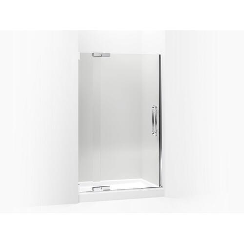 """Crystal Clear Glass With Anodized Brushed Bronze Frame Pivot Shower Door, 72-1/4"""" H X 45-1/4 - 47-3/4"""" W, With 1/2"""" Thick Crystal Clear Glass"""