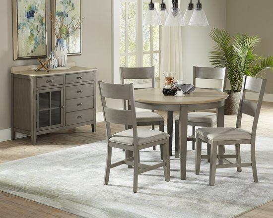 Round Dining Table - Linen/Weathered Gray Finish