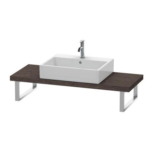 Console For Above-counter Basin And Vanity Basin Compact, Brushed Dark Oak (real Wood Veneer)