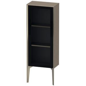 Semi-tall Cabinet With Mirror Door Floorstanding, Cashmere Oak