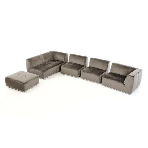 VIG Furniture - Divani Casa Hawthorn - Modern Grey Fabric Modular Left Facing Sectional Sofa + Ottoman