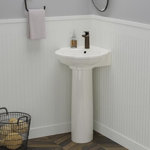 "Evolution Corner Pedestal Lavatory - 8"" Widespread / White"