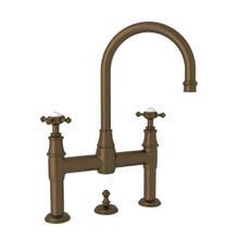 Georgian Era Deck Mount Bathroom Bridge Faucet - English Bronze with Cross Handle