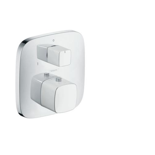 White/chrome Thermostatic Trim with Volume Control and Diverter
