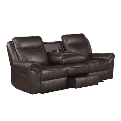 Gallery - Double Reclining Sofa with Center Drop-Down Cup Holders, Receptacles, Hidden Drawer and USB Ports