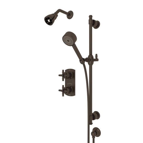Tuscan Brass ZEPHYR THERMOSTATIC SHOWER PACKAGE with Cross Handle Zephyr Series Only