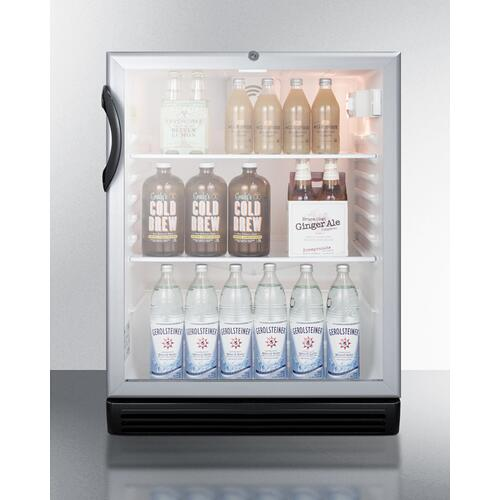 """Product Image - Commercially Listed ADA Compliant 5.5 CU.FT. Freestanding Beverage Center In A 24"""" Footprint, With Black Cabinet, Glass Door, and Lock"""