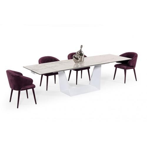 Gallery - Modrest Baldwin - Modern White Ceramic Extendable Dining Table