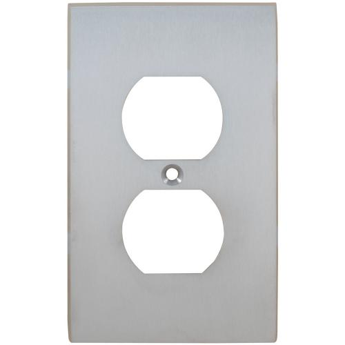 Duplex Receptacle Modern Switchplate in (US26D Satin Chrome Plated)