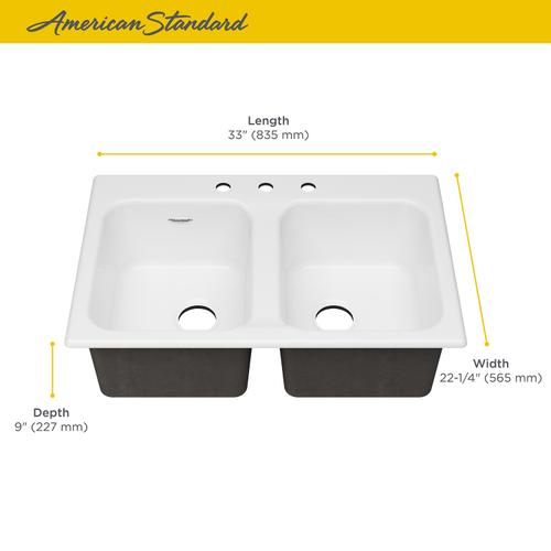 American Standard - Quince 33 x 22 Double Bowl Cast Iron Kitchen Sink  American Standard - Brilliant White