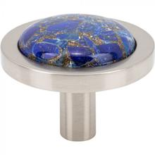 View Product - FireSky Mohave Lapis Knob 1 9/16 Inch Brushed Satin Nickel Base Brushed Satin Nickel
