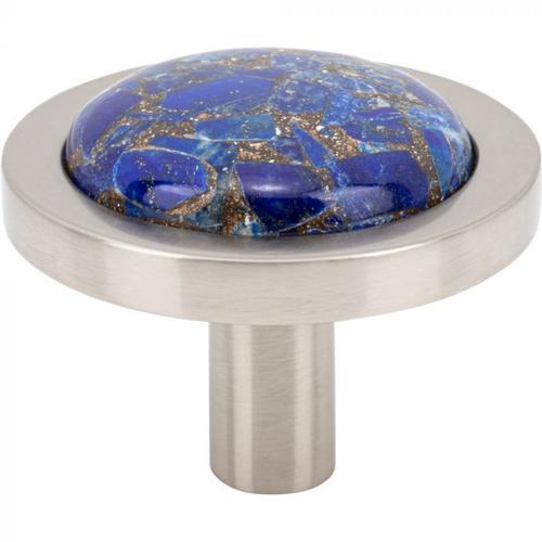 Vesta Fine Hardware - FireSky Mohave Lapis Knob 1 9/16 Inch Brushed Satin Nickel Base Brushed Satin Nickel