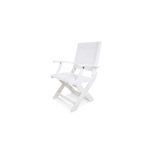 Polywood Furnishings - Coastal Folding Chair in White / White Sling
