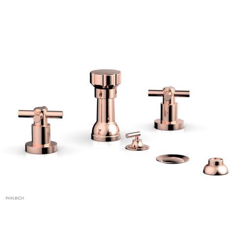 BASIC Four Hole Bidet Set - Tubular Cross Handles D4134 - Polished Copper