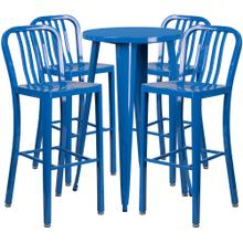 24'' Round Blue Metal Indoor-Outdoor Bar Table Set with 4 Vertical Slat Back Stools