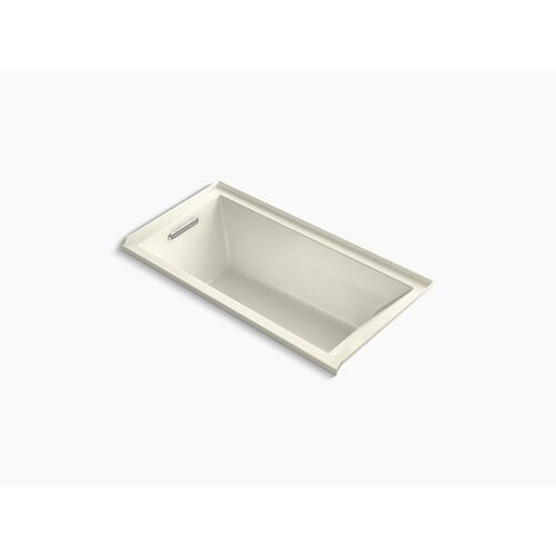 "Biscuit 60"" X 30"" Alcove Vibracoustic Bath With Bask Heated Surface, Integral Flange, and Left-hand Drain"