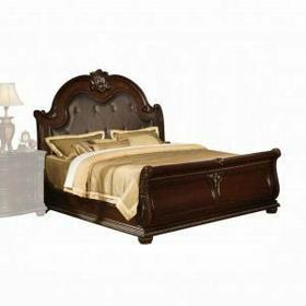 ACME Anondale Eastern King Bed - 10307EK - Espresso PU & Cherry