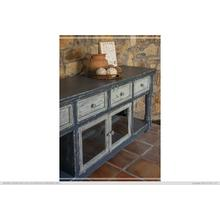 "70"" TV Stand in Dark Blue Finish, w/4 sky blue drawers & 2 sky blue doors"