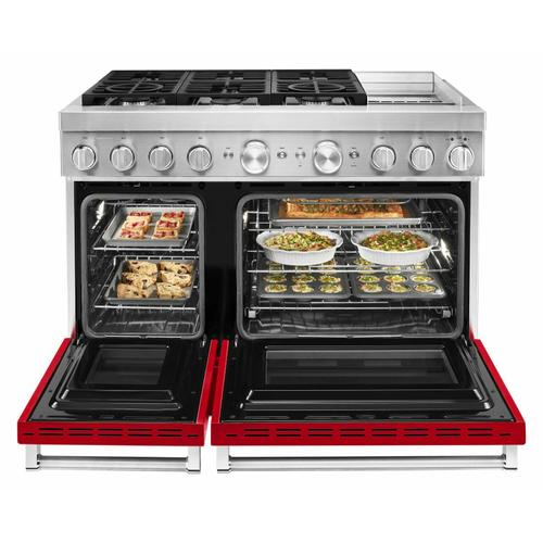 KitchenAid Canada - KitchenAid® 48'' Smart Commercial-Style Dual Fuel Range with Griddle - Passion Red