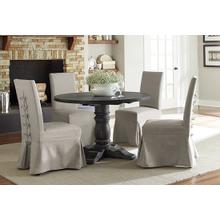See Details - Round Dining Table - Weathered Pepper Finish