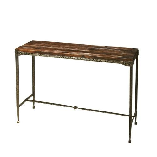 All rustic all the time and perpetually elegant in its simplicity, this console table is hand-crafted from acacia solid wood and iron. Its burnt umber top and hammered pewter finish base complement one another perfectly, as it evokes the honesty and sp