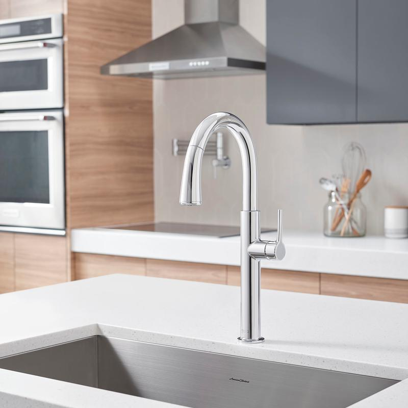 4803300002 In Polished Chrome By American Standard In Calgary Ab Studio S Pull Down Dual Spray Kitchen Faucet American Standard Polished Chrome