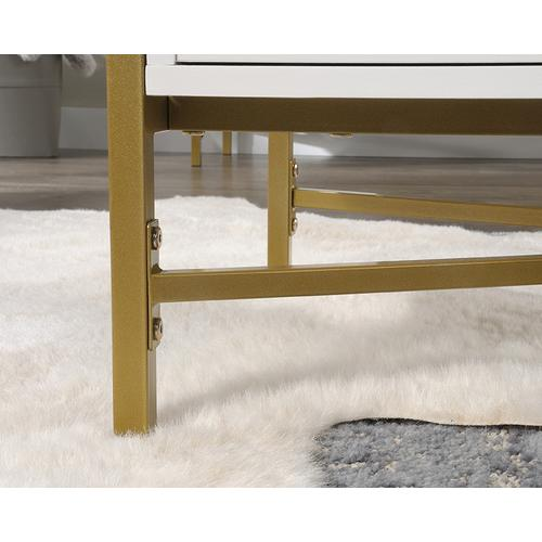 White Contemporary Glass-Top Coffee Table