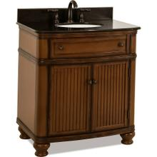 "32"" Walnut vanity with Antique Brushed Satin Brass hardware, bead board doors, curved front, and preassembled Black Granite top and oval bowl"