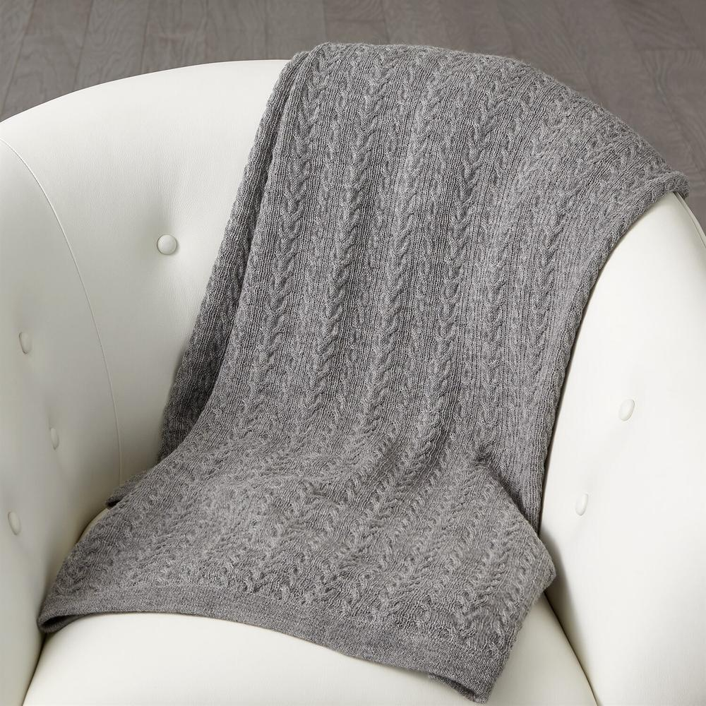See Details - Cable Knit Alpaca Wool Throw-Grey