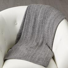 Cable Knit Alpaca Wool Throw-Grey