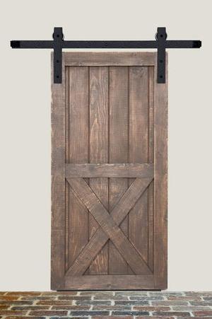8' Barn Door Flat Track Hardware - Rough Iron Basic Style Product Image