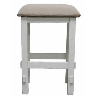 """See Details - White 24"""" Padded Stool"""