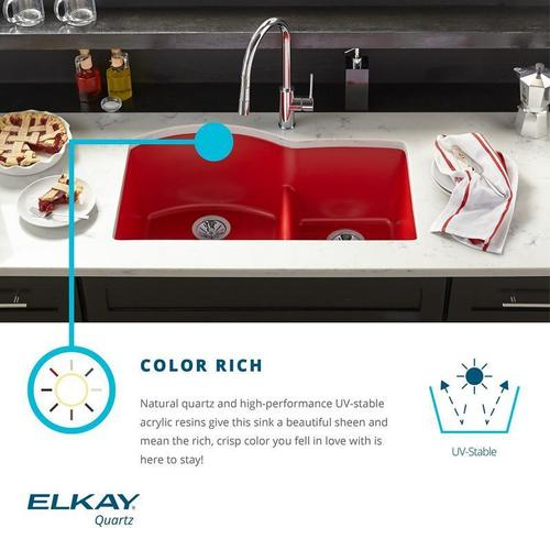 "Elkay Quartz Luxe 33"" x 19"" x 10"", Equal Double Bowl Undermount Sink with Aqua Divide"