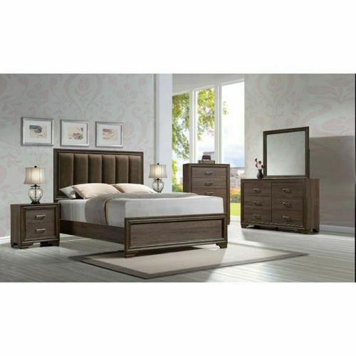 ACME Cyrille Eastern King Bed (Padded HB) - 25847EK - Fabric & Walnut