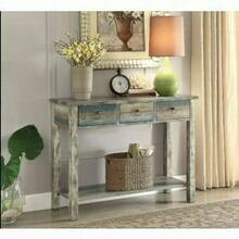 ACME Glancio Console Table - 97257 - Antique White & Teal