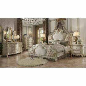 ACME Picardy Eastern King Bed - 26877EK - Fabric & Antique Pearl