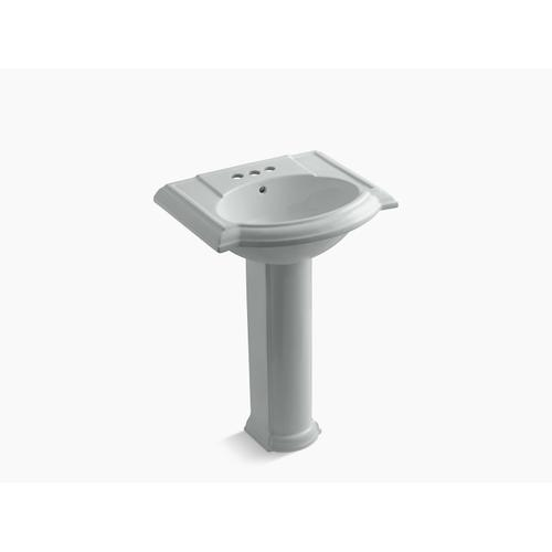 """Ice Grey 24"""" Pedestal Bathroom Sink With 4"""" Centerset Faucet Holes"""