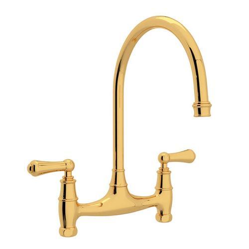 Georgian Era Bridge Kitchen Faucet - English Gold with Metal Lever Handle