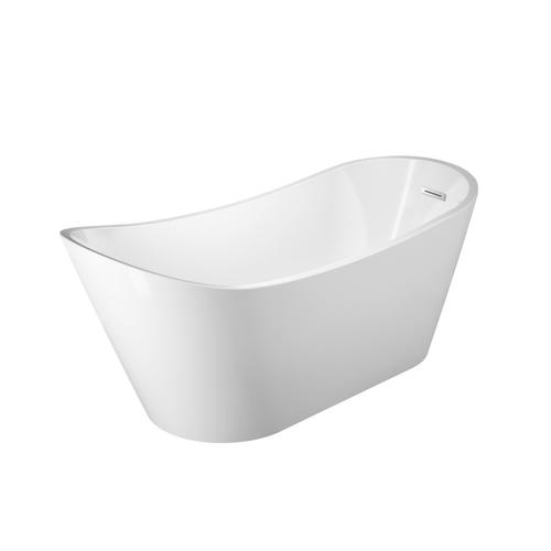 "Malinda 65"" Acrylic Slipper Tub with Integral Drain and Overflow - Polished Chrome Drain and Overflow"