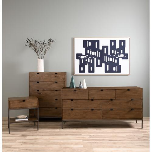 Auburn Poplar Finish Trey 7 Drawer Dresser