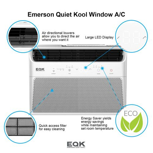 Emerson Quiet Kool SMART Window Air Conditioner,6,000 Btu 115V, With Wifi and Voice Control, Works with Amazon Alexa and Google Home, Energy Star Certified, EBRC6RSE1H