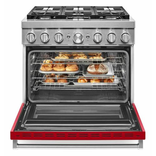 KitchenAid - KitchenAid® 36'' Smart Commercial-Style Dual Fuel Range with 6 Burners - Passion Red