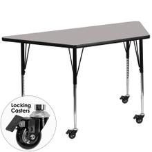 Mobile 25''W x 45''L Trapezoid Grey HP Laminate Activity Table - Standard Height Adjustable Legs