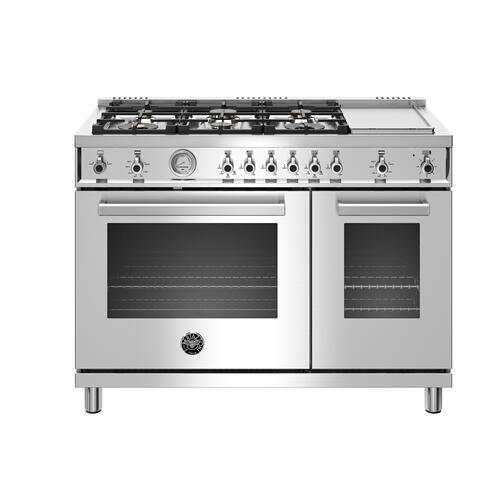 "Bertazzoni - 48"" Professional Series range - Gas Oven - 6 brass burners + griddle - LP version"