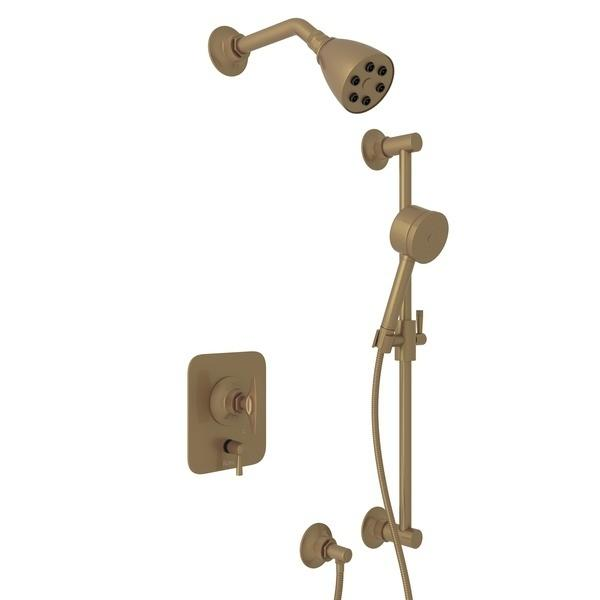 French Brass GRACELINE PRESSURE BALANCE SHOWER PACKAGE with Metal Dial Handle Graceline Series Only