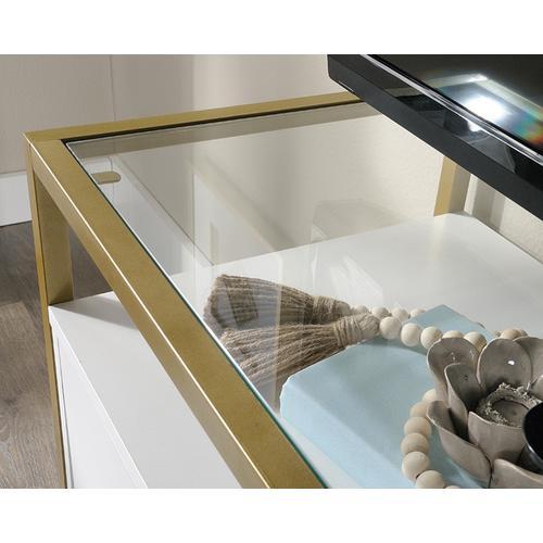 White Contemporary Glass-Top TV Credenza