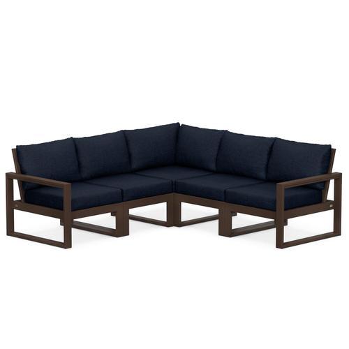 Polywood Furnishings - EDGE 5-Piece Modular Deep Seating Set in Mahogany / Marine Indigo