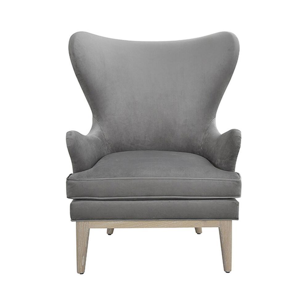 Modern Wing Chair With Cerused Oak Feet In Grey Velvet
